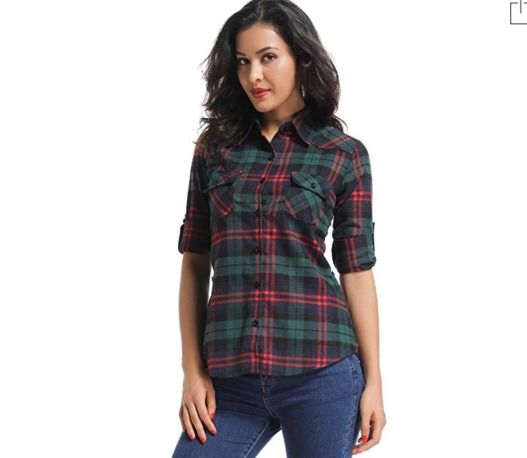 OCHENTA Flannel in Green Red
